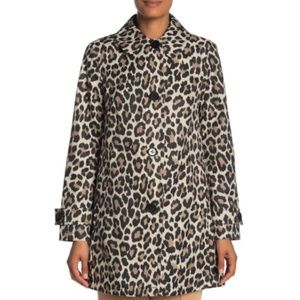 Kate Spade Leopard Print Trench Jacket Size Small